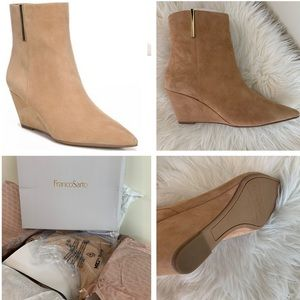 Franco Sarto Athens camel suede wedge booties 9